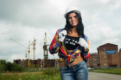 Ingegnere di costruzione al cantiere Fotografie Stock Libere da Diritti