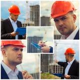 Ingegnere di costruzione al sito Fotografia Stock