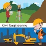 Ingegnere di indagine della terra di ingegneria civile della costruzione illustrazione di stock