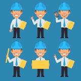 Ingegnere Holds Phone Folder e manifesto illustrazione di stock