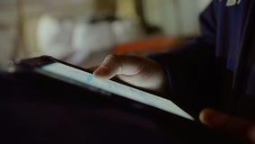 Ingegnere Works On Tablet stock footage