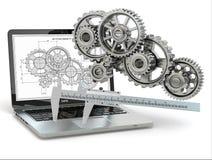 ingegneria di Computer-progettazione. Computer portatile, ingranaggio, tramaglio e progetto. illustrazione di stock