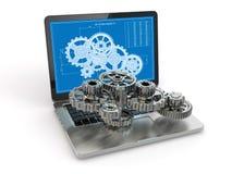 Ingegneria di progettazione del computer. Computer portatile, ingranaggio e progetto. illustrazione di stock
