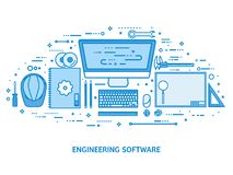 Ingegneria ed architettura Costruzione di disegno Progetto architettonico Schizzo di progettazione Area di lavoro con gli strumen illustrazione vettoriale