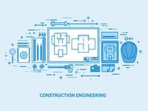 Ingegneria ed architettura Costruzione di disegno Progetto architettonico Schizzo di progettazione Area di lavoro con gli strumen illustrazione di stock
