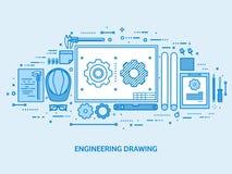 Ingegneria ed architettura Costruzione di disegno Progetto architettonico Schizzo di progettazione Area di lavoro con gli strumen royalty illustrazione gratis