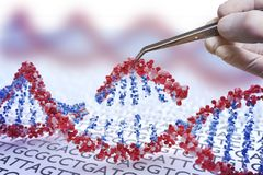Ingegneria genetica, GMO e concetto di manipolazione del gene La mano sta inserendo la sequenza di DNA illustrazione 3D di DNA illustrazione di stock