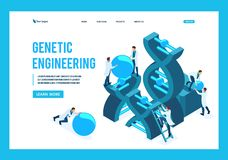 Ingegneria genetica isometrica, struttura del DNA royalty illustrazione gratis