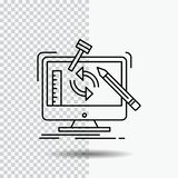 ingegneria, progetto, strumenti, officina, linea di trasformazione icona su fondo trasparente Illustrazione nera di vettore dell' illustrazione vettoriale