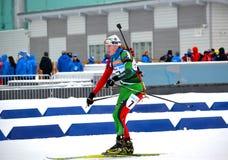 Ingela Andersson concurreert in de Regionale Kop van IBU Royalty-vrije Stock Foto's