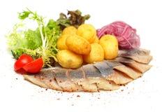 Ingelegde Haringen, Skandinavische keuken stock afbeeldingen