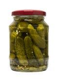 Ingelegde komkommer in glaskruik Stock Fotografie