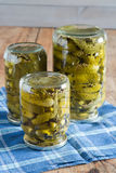 Ingelegde komkommers royalty-vrije stock foto's
