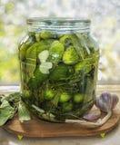 Ingelegde komkommers in kruik royalty-vrije stock foto's
