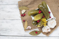 Ingelegde komkommers met Amerikaanse veenbessen Stock Fotografie