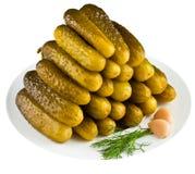 Ingelegde komkommers in witte plaat Stock Foto's