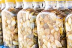 Ingelegde schaaldieren met vissensaus - Thais voedsel stock foto