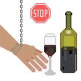 Ingen alkoholteckenvektor Förbjuda alkoholdrycker PIXELkonstillustration royaltyfri illustrationer