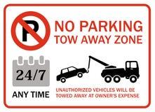 Ingen bort zon för parkeringssläp, när som helst Royaltyfria Bilder
