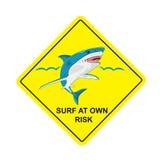Ingen bränning, hajar inget simningtecken, vektorillustration Royaltyfria Bilder