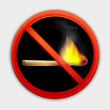 Ingen brand, klistermärkesymbolsvektor Arkivbilder