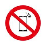 Ingen cell, inget mobiltelefonteckenbaner, inget telefontecken på vit bakgrund, illustration, vektor, Royaltyfri Bild