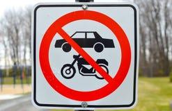 Ingen cykel, motorcykel, bilområdestecken Royaltyfri Foto