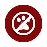 Ingen djur förbjuden teckensymbol i emblemstil En av nedgångsamlingssymbolen kan användas för UI, UX stock illustrationer