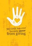 Ingen har någonsin blivit fattig från att ge sig Inspirerande idérikt motivationcitationstecken för välgörenhet Vektortypografiba stock illustrationer