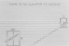 Ingen hiss till framgång, trappa till Ceo placerar och lyfter ut ur nolla Royaltyfri Bild