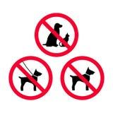 Ingen hundkapplöpning, inga husdjur, ingen koppelhundkapplöpning, inget rött förbudtecken för fri hundkapplöpning royaltyfri illustrationer