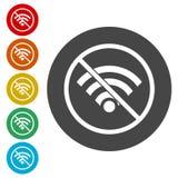 Ingen internet och tecken för wi fi royaltyfri illustrationer