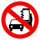 Ingen körning och telefon genom att använda vektortecknet royaltyfri illustrationer