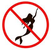 Ingen kontur för sighnflickasjöjungfru med skugga och en svans i Black Sea Sjöjungfruillustration Marmeid sihluette royaltyfri fotografi