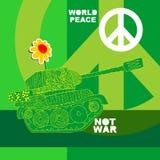 Ingen krigvykort, affisch hippiebakgrund för översiktsfred för hand insida isolerad värld för white för shake Arkivbilder