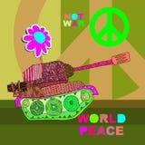Ingen krigvykort, affisch hippiebakgrund för översiktsfred för hand insida isolerad värld för white för shake Royaltyfri Bild