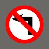 Ingen lämnad vänd område isolerade gångare förböd upp restricted vägmärken stock illustrationer