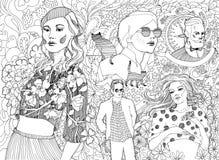 Ingen liknande grupp av trendigt folk royaltyfri illustrationer