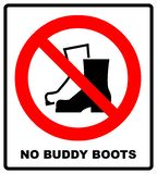 Ingen Muddy Boots Symbol Tecken för förbud för regnkängor Röd varningsförbudsymbol Illustration som isoleras på white Blac royaltyfri bild