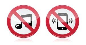 Ingen musik som är ingen stojar röd varning undertecknar -   vektor illustrationer
