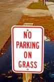 Ingen parkering på gräs Royaltyfri Fotografi