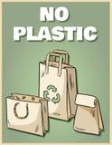 Ingen plast- affisch för pappers- påsar Motivational uttryck Ekologisk och noll-avfalls produkt G?r den gr?na uppeh?llet vektor illustrationer