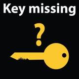 Ingen tangent avkände den varningsstrecktecken-symbolen illustrationen Nyckel- saknad DTC-kodljus royaltyfri illustrationer