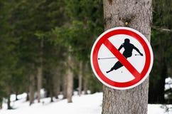 ingen teckenskidåkning Fotografering för Bildbyråer