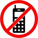 Ingen telefon, telefon förböd symbol vektor vektor illustrationer