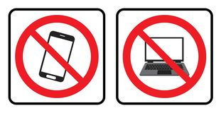 Ingen telefonsymbol och ingen bärbar datorsymbol royaltyfri illustrationer