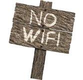 Ingen Wifi lantlig Wood teckenbild på vit bakgrund Arkivbild