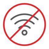Ingen wifilinje symbol som förbjudas och förbud, internet förbjudit tecken, vektordiagram, en linjär modell på en vit bakgrund stock illustrationer