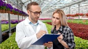 Ingeniero agrícola de sexo masculino y granjero de sexo femenino que discuten analizando potencial cada vez mayor en el invernade metrajes