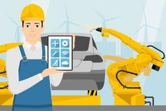 Ingeniero con una tableta digital imagenes de archivo
